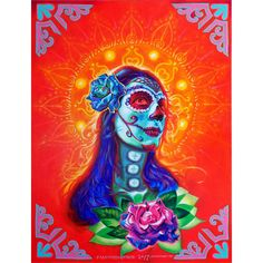 Sugar skull portrait of my wife in acrylic on canvas 40 in by 30 in by Francois Shogreen