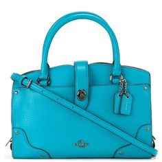 Coach removable strap medium tote ($245) ❤ liked on Polyvore featuring bags, handbags, tote bags, green, green tote bag, coach tote, blue purse, blue tote bag and coach tote bags