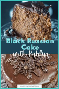 Black Russian Cake with Kahlua is a decadently rich cake that is creamy and delicious. It looks like it came from a bakery but is easy enough to make at home. #hostessatheart #baked #cake #dessert Decadent Chocolate Cake, Chocolate Ganache, Chocolate Desserts, Craving Chocolate, Delicious Cake Recipes, Yummy Cakes, Yummy Food, Healthy Recipes, Cupcakes
