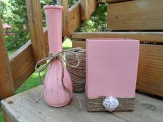 Cameo pink hand painted shabby chic 2 vase set by TheRustyDuckCo, $21.00