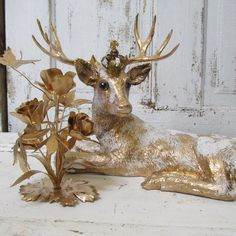 French vintage deer with crown large figurine by AnitaSperoDesign