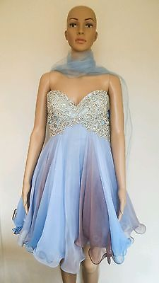 Allure Pastel Blue & Brown Beaded Womens Evening Dress Formal Dress 10 Brand new