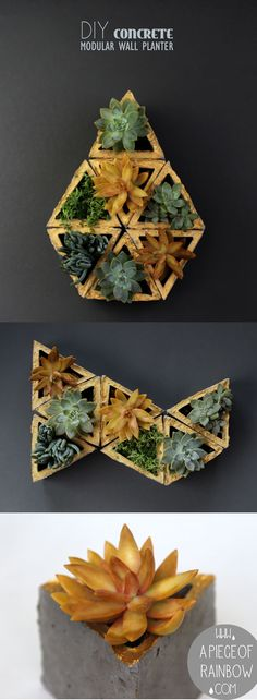Create your stack-able vertical garden or living wall with these easy to make, modern and stylish concrete modular planters! Concrete Planters, Diy Planters, Garden Planters, Garden Art, Diy Concrete, Papercrete, Modular Walls, Design Jardin, Cement Crafts