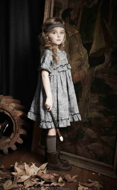 Gorgeous in gray dress, boots, socks, and perfect-messy hair. Blu Pony Vintage   Adele A. Dress x