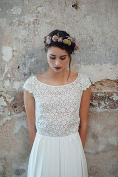 Fantastically light wedding dresses by Victoria Rüsche - wedding madness - be inspired Light Wedding Dresses, Lace Wedding Dress, Tea Length Wedding Dress, Lace Dress, Flower Girl Hairstyles, Crown Hairstyles, Wedding Hairstyles, Cheap Flower Girl Dresses, Mermaid Dresses