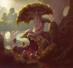 Image selected for Fantasy Illustrations by Sam Nielson Landscape Concept, Fantasy Landscape, Fantasy Art, Environment Concept Art, Environment Design, Game Environment, Fantasy Illustration, Digital Illustration, Magic Forest