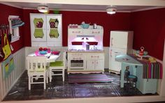 American Girl Doll House: the kitchen. The finished kitchen complete with lighting & appliances. So cute.