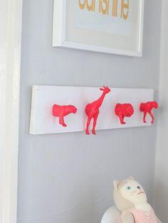 Neon Nursery Wall Hooks - 15 Unusual and Creative Repurposed Wall Hooks
