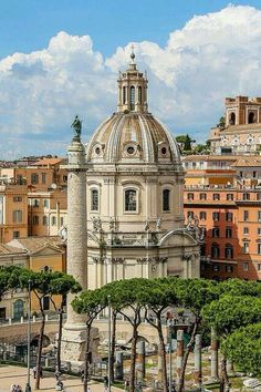 Santissimo Nome di Maria Church, Rome. The Dome with Trajan's column & roman ruins in the foreground.