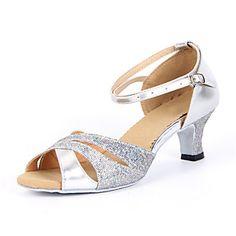 d3e87e5905424e Damen Schuhe für den lateinamerikanischen Tanz   Salsa Tanzschuhe Glitzer  Sandalen Schnalle Blockabsatz Keine Maßfertigung möglich Tanzschuhe Silber    Blau ...