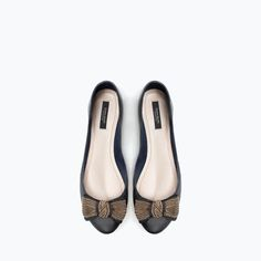 ZARA - SHOES & BAGS - LEATHER BALLET FLAT WITH BOW