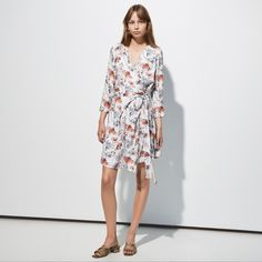 FWSS Dead Format is a flowy wrap dress in an illustrative floral print with tie waist detail. Fall Winter Spring Summer, Wrap Dress Floral, Knitwear, Floral Prints, Tie, Clothes, Shopping, Detail, Dresses
