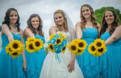 17 piece Sunflower Bouquet Malibu Blue Yellow Sunflower Bridal Bouquet Sunflower Wedding Bouquet Set, Turquoise Bouquet, Rustic Wedding