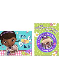 Doc McStuffins Party Invitations and Thank You Combo is a great way to start and finish your /doc McStuffin party. Create a cute party with this theme. I Party, Party Ideas, Doc Mcstuffins, Thank You Notes, Party Invitations, Party Supplies, Thankful, Kids Rugs, Toys