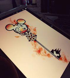 In Brave design Disney Key Tattoo, Mickey Tattoo, Disney Sleeve Tattoos, Cute Disney Tattoos, Key Tattoos, Love Tattoos, Body Art Tattoos, Small Tattoos, Tatoos