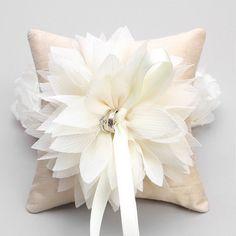 Ring Pillow - Wedding ring pillow, Flower ring pillow, bridal ring bearer pillow. $40.00, via Etsy.