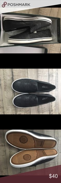 New Ralph Lauren Slipon Sneakers Brand New Ralph Lauren slip on sneakers. Black with white trim. Size 8 and Size 8.5 available. Lauren Ralph Lauren Shoes Sneakers
