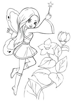 Cute Fairy Cartoon Coloring Pages Fairy Coloring Pages, Princess Coloring Pages, Coloring Pages For Girls, Cartoon Coloring Pages, Printable Coloring Pages, Adult Coloring, Coloring Books, Kids Coloring, Barbie Drawing