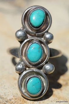 Vintage Signed Zuni Style Sterling Silver Turquoise Row Ring -New Old Store Stock via Etsy