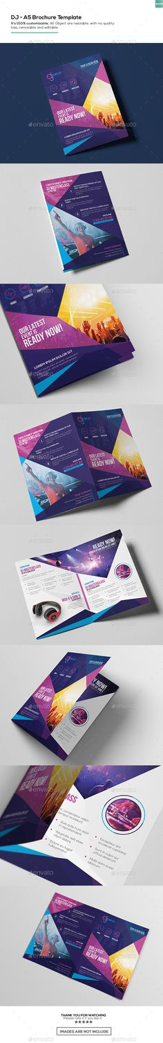 DJ/ Brochure Template by Features Its customizable. All object are resizable, with no quality loss, removable and Layered PSD File/li>Fully Bi Fold Brochure, Corporate Brochure, Business Brochure, Brochure Design, Brochure Ideas, Brochure Inspiration, Graphic Design Inspiration, Letterhead Template, Brochure Template