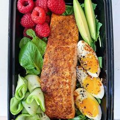 Meal Prep Monday: air fryer salmon soft boiled egg avocado ribboned cucumbers raspberries a. Keto Recipes, Dinner Recipes, Healthy Recipes, Healthy Meals, Keto Meal Plan, Meal Prep, Get Healthy, Healthy Eating, Monthly Meal Planning
