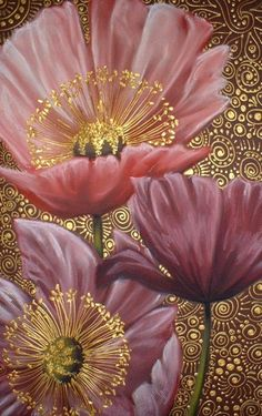 poppies on gold.