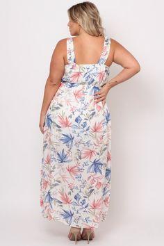 Plus Size Floral Print Maxi Dress - White Plus Size Womens Clothing, Clothes For Women, Gauze Dress, Classy Girl, Floral Print Maxi Dress, White Maxi Dresses, Latest Trends, Curvy, Floral Prints