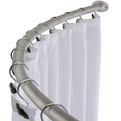 Brushed Nickel Curved Shower Curtain Rod Bath Area Bathtub Accessory In Home Garden Improvement Plumbing Fixtures Rods