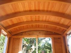 The arched roof rafters of the Don Vardo Tiny House. It's like getting a hug from your ceiling!