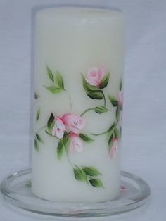 Climbing Roses Hand Painted Pillar Candle and by bethscottage, $18.00