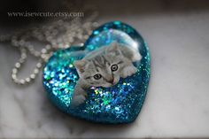 Cat Jewelry for Humans Cat Lover Resin Heart Necklace by isewcute
