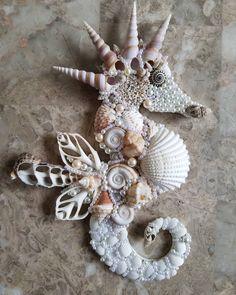 "9"" Long! Ready to Hang! $35 Message me :) #seahorse #saltytreasures #handcrafted #shellart #coastaldecor"