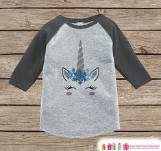 Kids Unicorn Shirt - Blue Snowflake Crown - Funny Winter Unicorn - Boys or Girls Onepiece or Tshirt - Toddler, Youth Grey Raglan