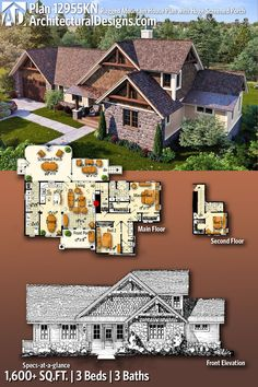 Architectural Designs Rugged House Plan has a huge rear screened porch and gives you 3 beds, 3 baths and over square feet of heated living space. Rustic House Plans, Southern House Plans, Country House Plans, New House Plans, Dream House Plans, Modern House Plans, House Floor Plans, Mountain House Plans, House Front Design