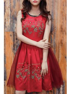 SHARE & Get it FREE | Floral Embroidery Sleeveless Red DressFor Fashion Lovers only:80,000+ Items • New Arrivals Daily Join Zaful: Get YOUR $50 NOW!
