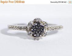 Early Bird Christmas Sale Black Diamond Ring by LadyLibertyGold
