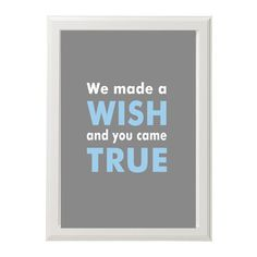 So sweet!  Personalizable kids wall art - We made a wish art print - Customizable - gray and blue or pick the colors - modern nursery - adoption gift. $26.95, via Etsy.