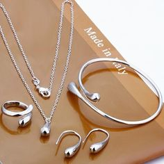 925 Silver Water Drop Set Ring+ Necklace+Bangle+Earrings