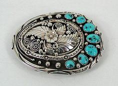Vintage NOS Navajo turquoise sterling silver  belt buckle