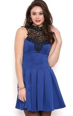 Deb Shops Short Homecoming Dress with High Lace Neckline and Tie Back $17.75