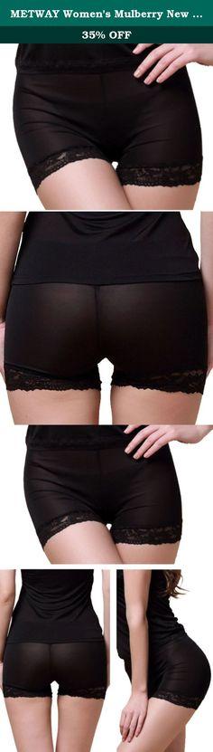 1d40523b3d66 METWAY Women's Mulberry New Silk Lace High Waisted Boy Shorts Panties  (Medium, Black)
