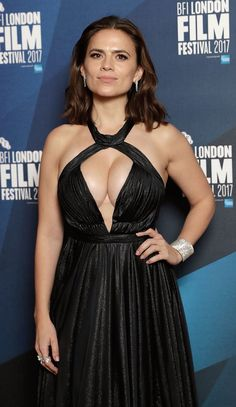 Hayley Atwell shows off her cleavage in a revealing Suzanne Neville dress at the BFI Film Awards in London - Photo by John Phillips / Getty Images for BFI / Image.net / Atlantic Images