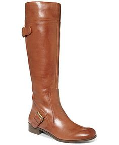 Nine West Sookie Wide Calf Riding Boots - Wide Calf Boots - Shoes - Macy's.  In honey or black