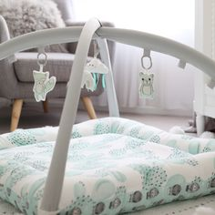 ♡ Activity Mat - Mint Cactus - Pre Order July ♡ Activity Mat, Cactus Print, Bag Storage, Mint Green, Toddler Bed, Activities, Room, Nursery, Furniture