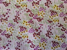 Meadow Floral Wine Flowers 100% Cotton Poplin | Craft Fabric Online UK
