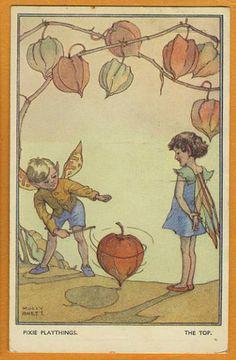 Molly Brett - English - vintage postcard -series 2027 by Faulkner - Pixie Playthings c1938