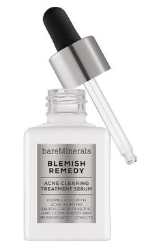 Free shipping and returns on bareMinerals® Blemish Remedy® Acne Clearing Treatment Serum at Nordstrom.com. What it is: Reveal your most beautiful skin with this treatment serum.What it does: This serum contains blemish-fighting salicylic acid to help treat acne-prone skin, and is also formulated with mineral zinc, licorice root extract and meadowsweet extract. It combats blemishes, calms skin and smoothes skin texture.How to use: Apply a small amount of the acne clearing serum to fingertips…