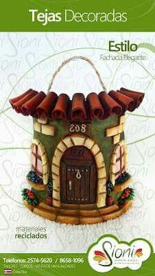 Sioni Clay Houses, Miniature Houses, Creative Crafts, Diy And Crafts, Clay Wall Art, Play Clay, Biscuit, Decorative Tile, Tile Art