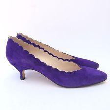 Manolo Blahnik Womens Shoes Size 7.5 Purple Suede Leather Pumps Kitten Heel 38