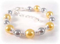 Jewelry for Little Girls Bracelet Yellow and Gray by foreverandrea,